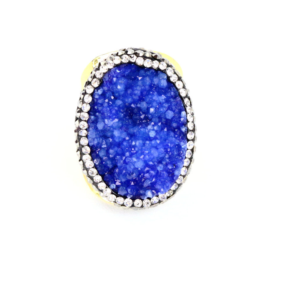 Blue Druzy Agate Cuff Ring