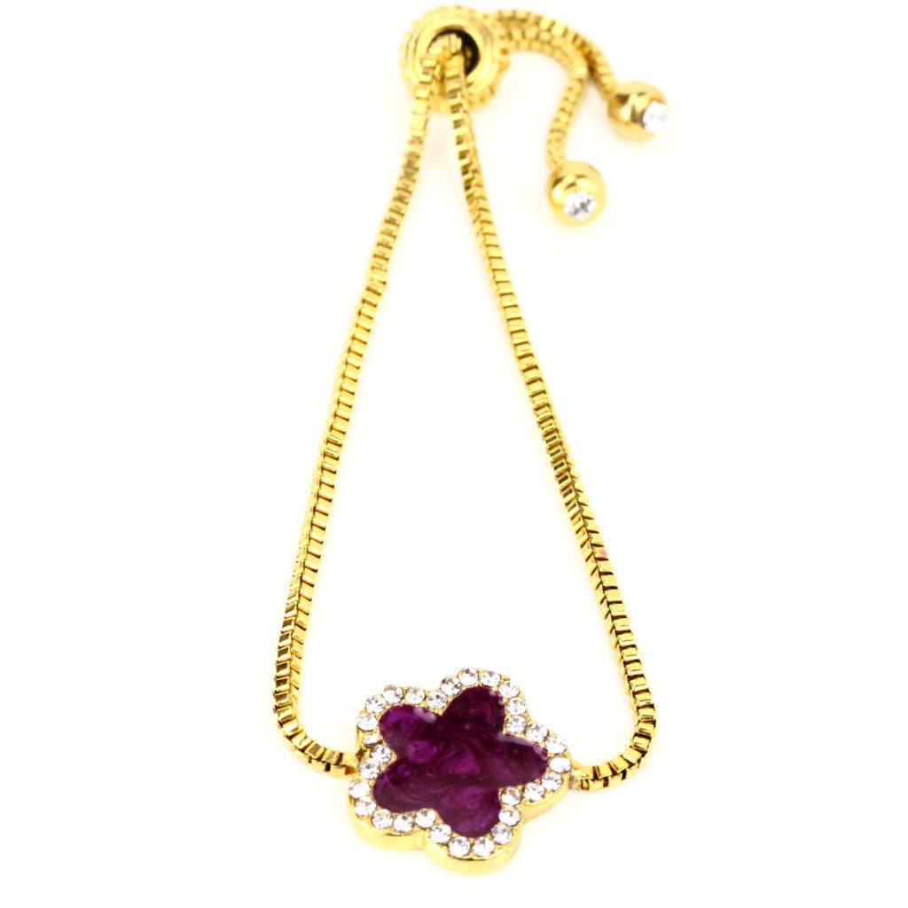 Purple Four Leaf Clover Gold Bracelet with Rhinestones