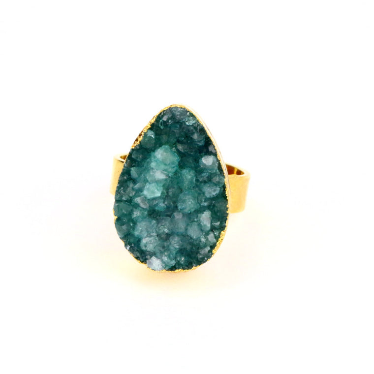 Green Druzy Agate Tear Drop Ring