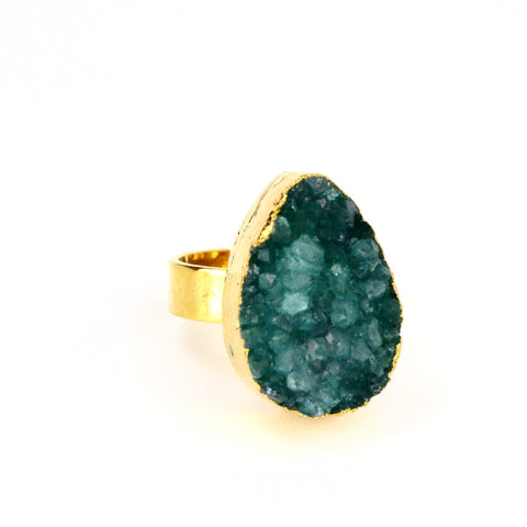Green Druzy Agate Handmade Tear Drop Ring: - Lulugem.com