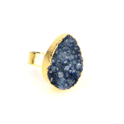 Blue Druzy Agate Tear Drop Ring - Lulugem.com