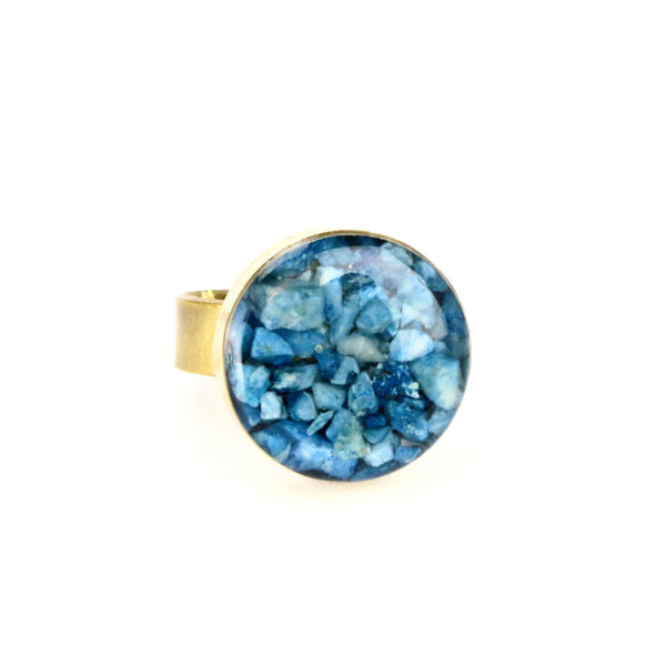 Crushed Sodalite Gemstone Ring
