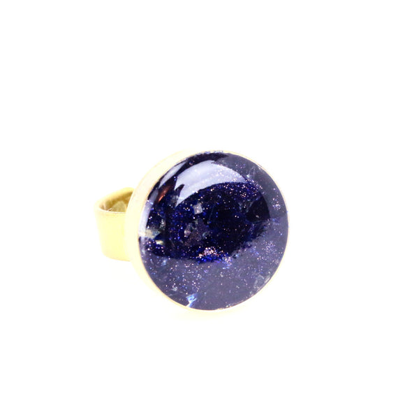 Crushed Blue GoldStone Gemstone Ring