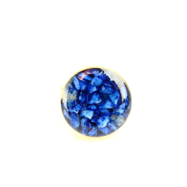 Crushed Lapis Lazuli Gemstone Ring