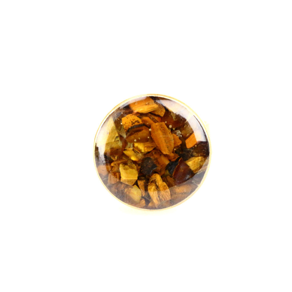 Crushed Tiger Eye Gemstone Ring