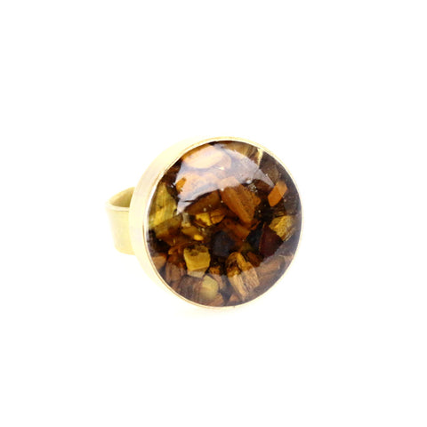 Crushed Tiger Eye Gemstone Ring - Lulugem.com