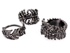 Black Crystal Feather Ring Set