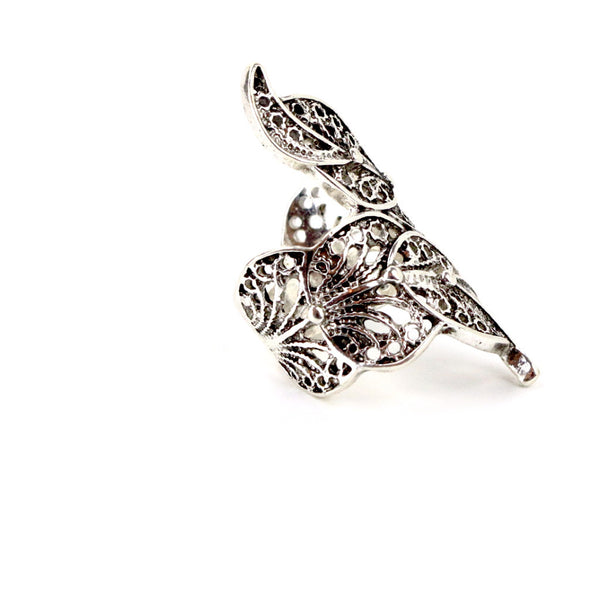 Leaf Knuckle Cocktail Silver Ring