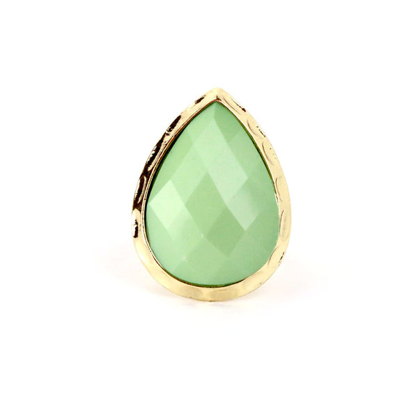 Pear Green Cocktail Gold Ring