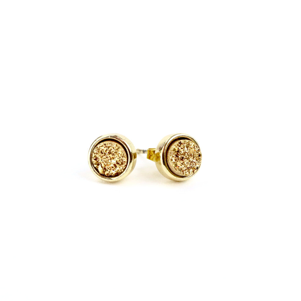 Gold Druzy Agate Round Stud Earrings