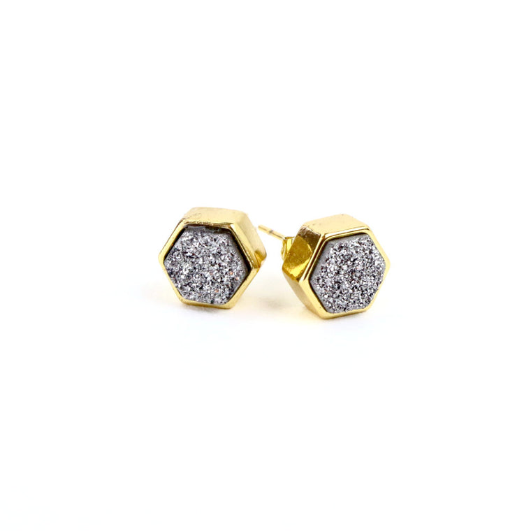 Silver Druzy Agate Hexagon Stud Earrings