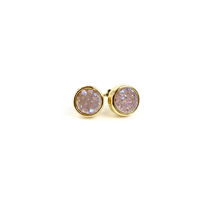 Pink Druzy Agate Round Stud Earrings