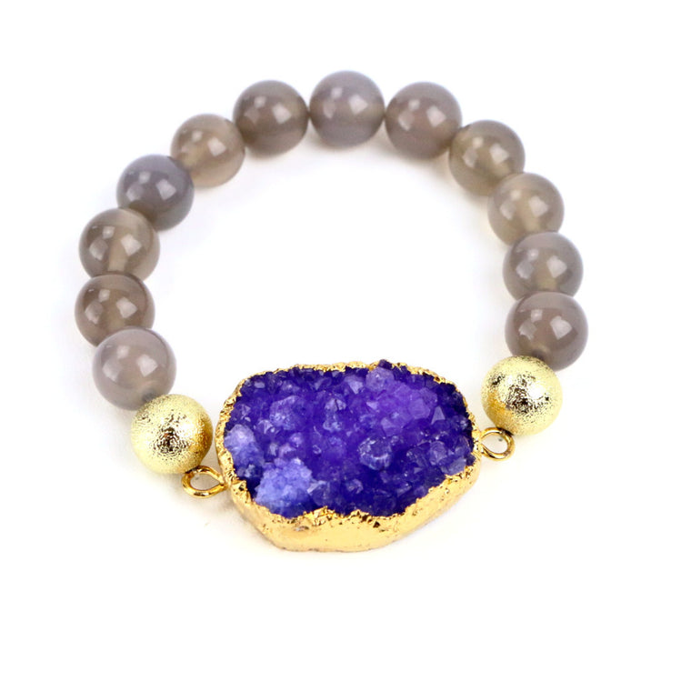 Purple Druzy and Grey Agate Bead Bracelet