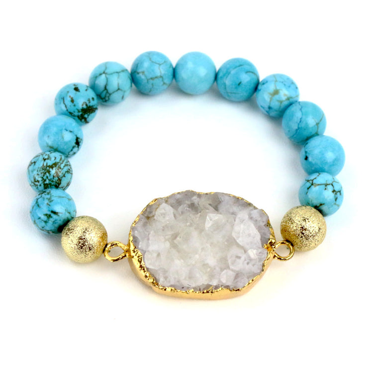 Turquoise Bead and White Marble Druzy Agate Bracelet