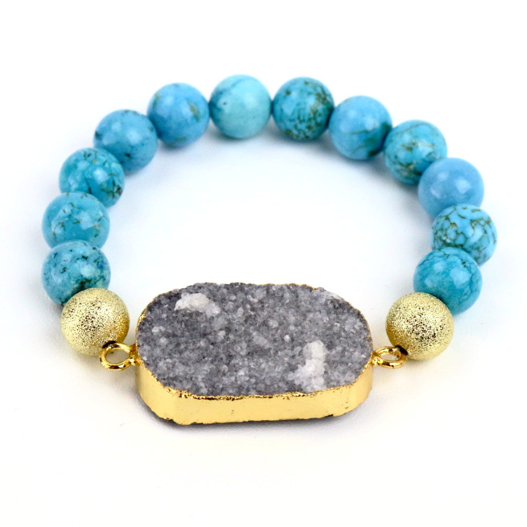 Turquoise Bead and Grey Marble Druzy Agate Bracelet