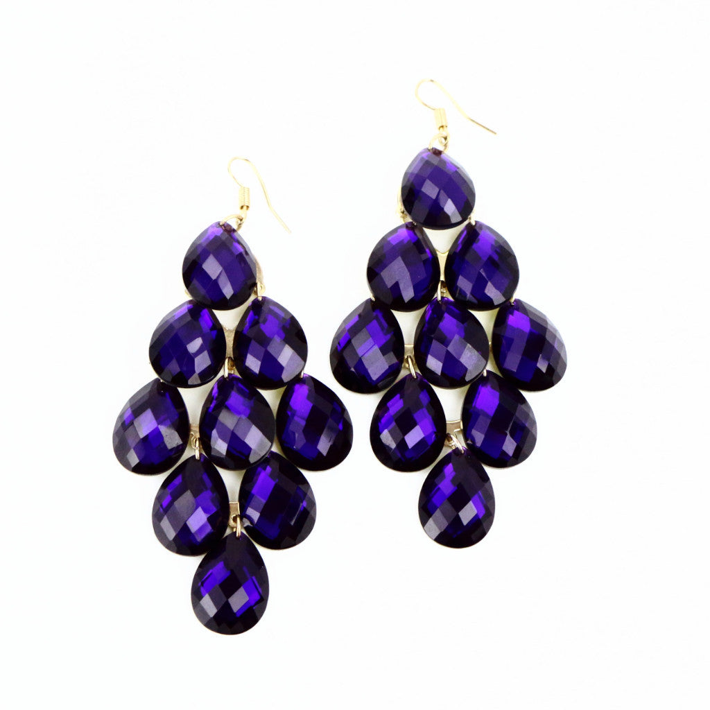 Purple Grape Drop Earrings