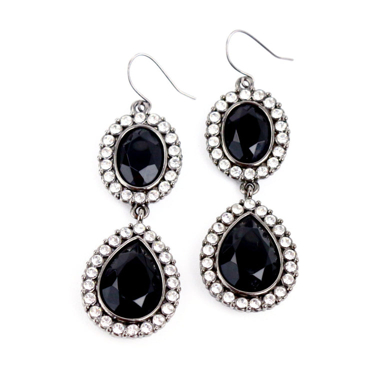 Black Onyx With Rhinestones Drop Earrings