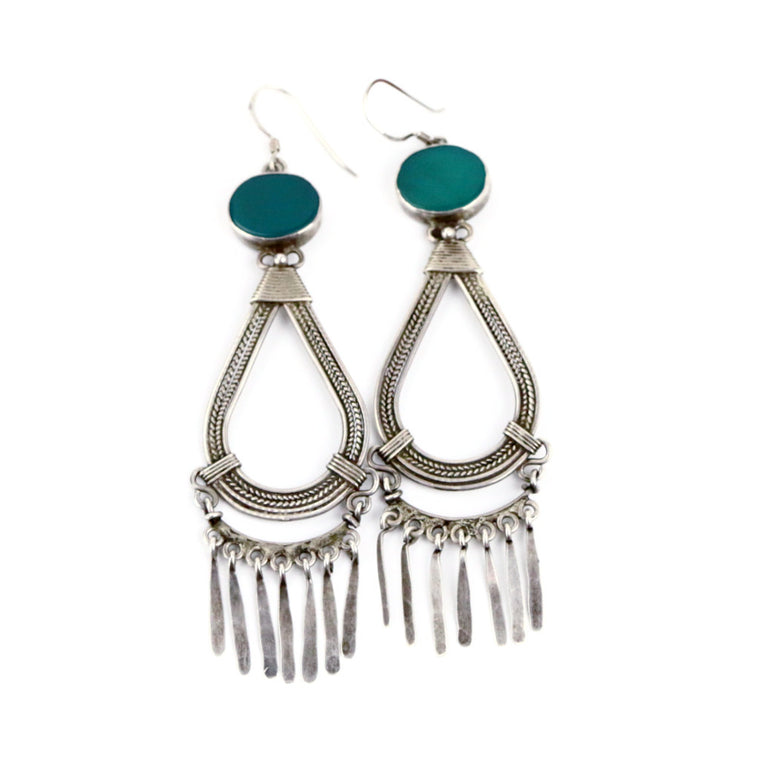 Sterling Silver Drop Turquoise Earrings