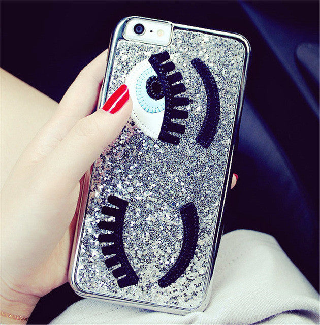 Silver Sequins Eyes Phone Case for iPhone 7/7S