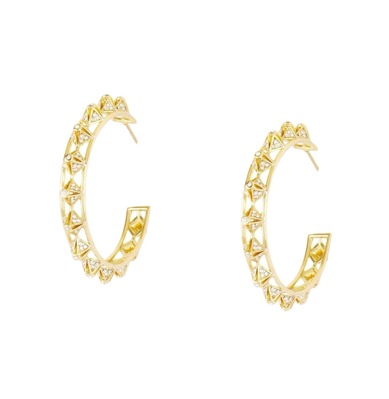 Crystal Embellished Pyramid Hoop Earrings