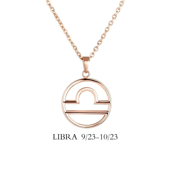 Libra Zodiac Sign Necklace Gold