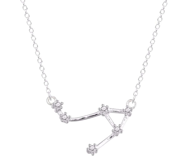 Libra Zodiac Constellation Silver Necklace