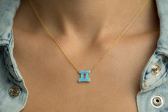 Gemini Women's Necklace Blue Opal Zodiac Pendant Sterling Silver Gold Chain