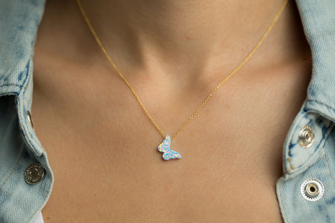 Butterfly Blue Opal Women's Necklace Sterling Silver Gold Chain