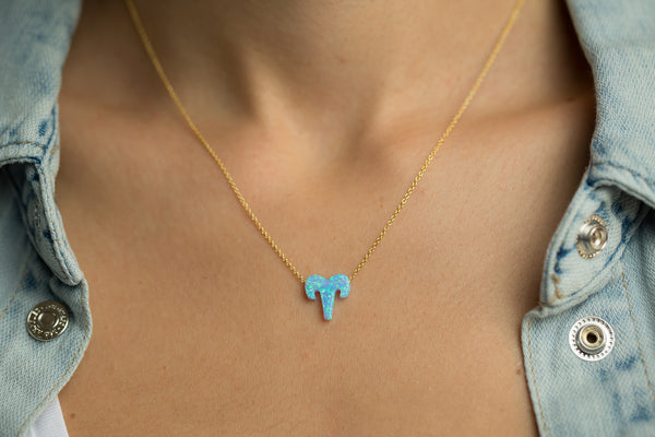 Aries Women's Necklace Blue Opal Zodiac Pendant Sterling Silver Gold Chain