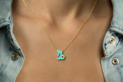 Capricorn Women's Necklace Blue Opal Zodiac Pendant Sterling Silver Gold Chain