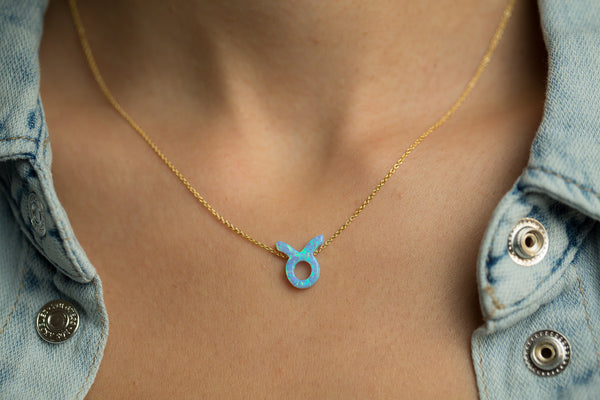 Taurus Women's Necklace with Blue Opal Zodiac Pendant Sterling Silver Gold Chain