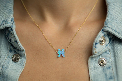 Pisces Women's Necklace with Blue Opal Zodiac Pendant Sterling Silver Gold Chain