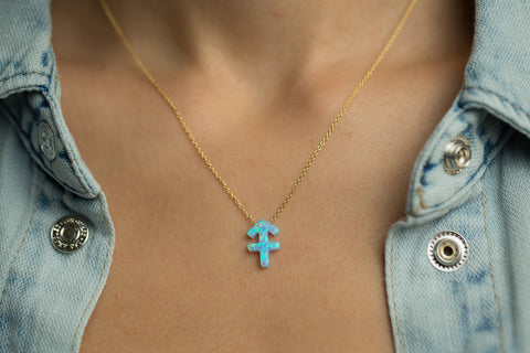 Sagittarius Women's Necklace with Blue Opal Zodiac Pendant Sterling Silver Gold Chain