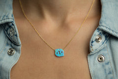 Cancer Women's Necklace Blue Opal Zodiac Pendant Sterling Silver Gold Chain