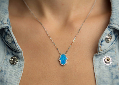 Hamsa Women's Necklace Blue Opal Pendant Sterling Silver Chain With Crystals