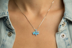 Blue Opal Allah Sterling Silver Necklace