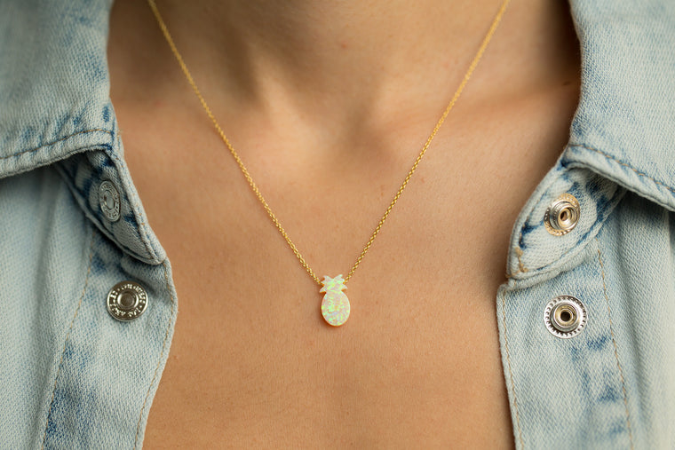 Pineapple Women's Necklace with Yellow Opal Pendant Sterling Silver Chain