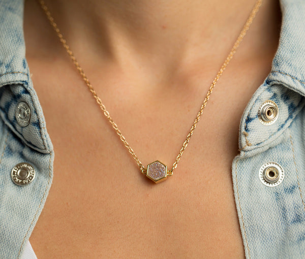 Pink Druzy Agate Geometric Necklace