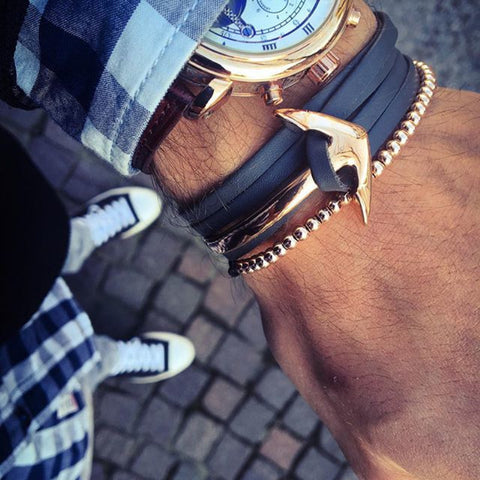 Men's Leather Anchor Brown Bracelet