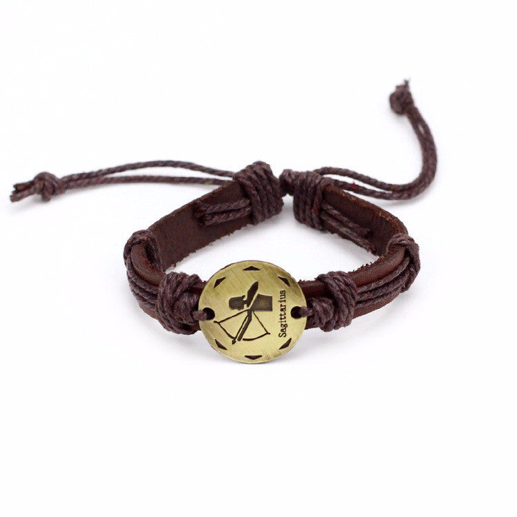 Sagittarius Leather Cuff Brown Bracelet