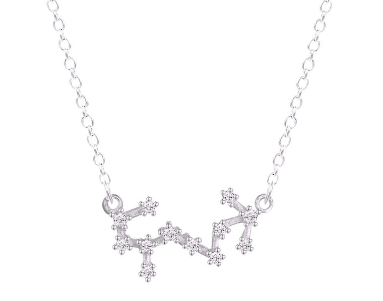 Scorpio Zodiac Constellation Silver Necklace