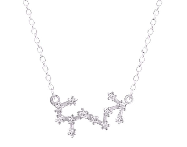 Scorpio Constellation Women's Necklace Zodiac Pendant Silver Chain