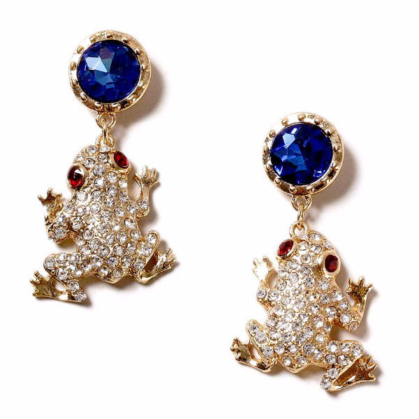 Rhinestone Frog Gold Drop Earrings