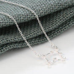 Taurus Constellation Women's Necklace Zodiac Pendant Silver Chain