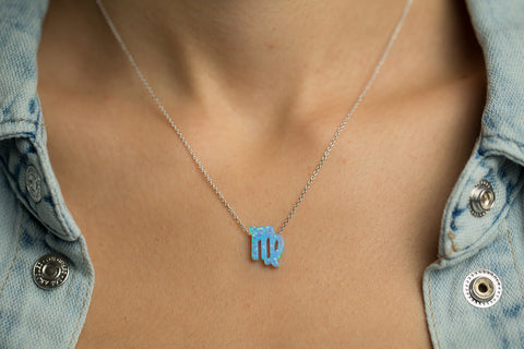 Virgo Women's Necklace with Blue Opal Zodiac Pendant Sterling Silver Chain