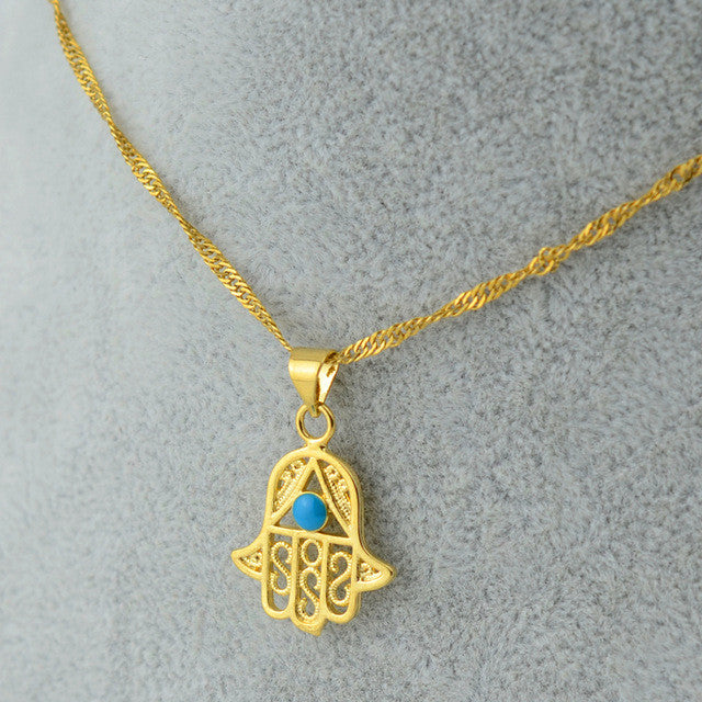 Hamsa Hand Blue Evil Eye Pendant Necklace - Lulugem.com