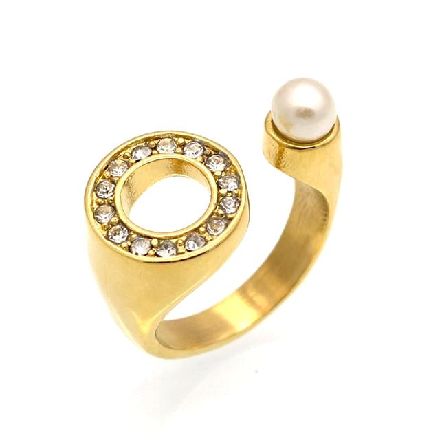 Alectrona Gold Pearl Crystal Cuff Ring