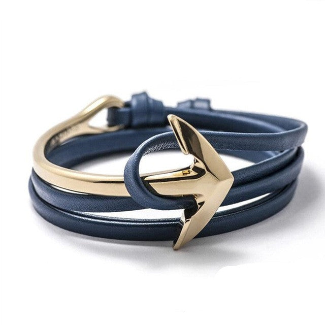 Men's Leather Anchor Blue Bracelet
