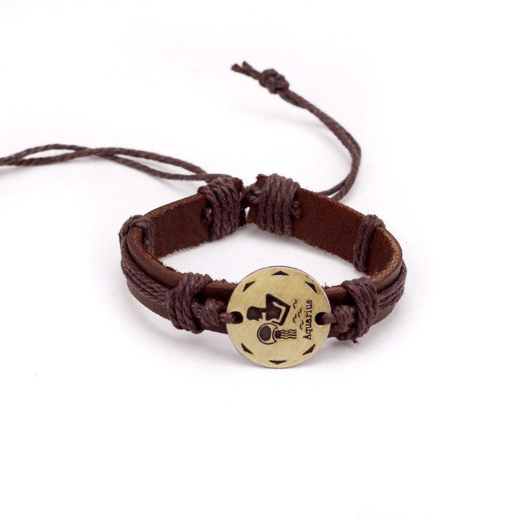 Aquarius Leather Cuff Brown Bracelet