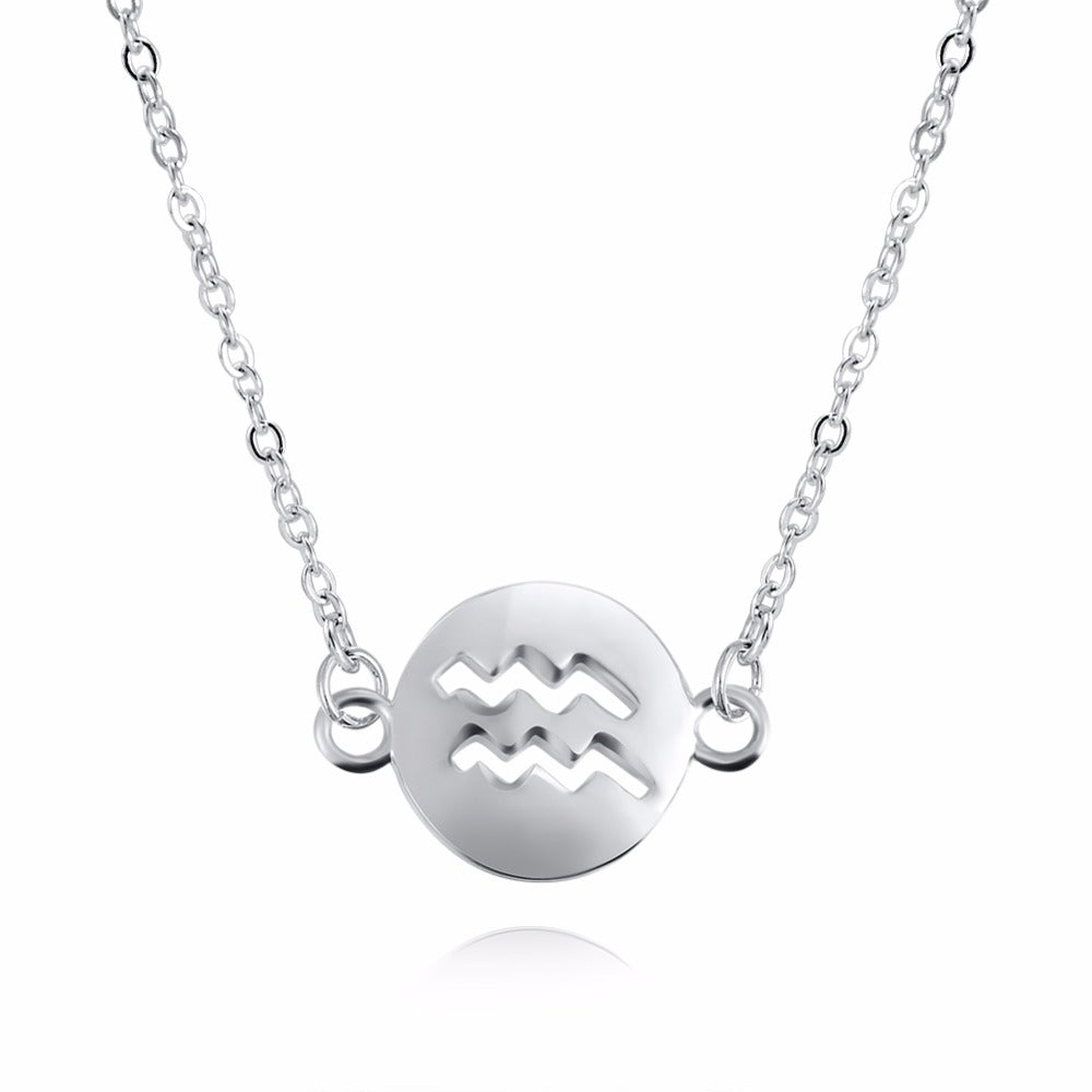 Aquarius Women's Necklace Zodiac Pendant Silver Chain
